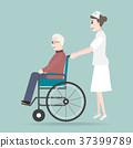 Nurse pushing wheelchair of elder man illustration 37399789