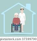 Nursing home sign icon, Nurse and elderly man 37399790