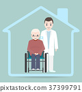 Nursing home sign icon, Doctor and elderly man 37399791