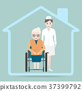 Elderly woman sitting on wheelchair and nurse icon 37399792