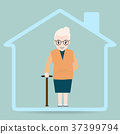 Elderly woman and home icon, Nursing home icon 37399794