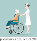Nurse pushing wheelchair of elderly woman 37399796
