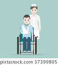 Nurse and Injury man in bandage and wheelchair 37399805