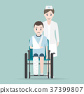 Nurse and Injury man in bandage and wheelchair 37399807