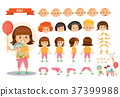 Girl kid playing games and toys vector cartoon 37399988