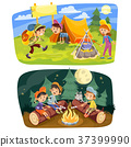 Kids summer camping vector concept illustration 37399990