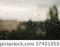 Raindrops on window with blurry trees as 37401050