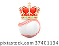 Baseball ball with royal crown, 3D rendering 37401134