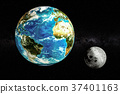 Earth and Moon in space concept, 3D rendering 37401163
