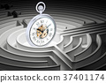 Pocket watch inside labyrinth maze, 3D rendering 37401174