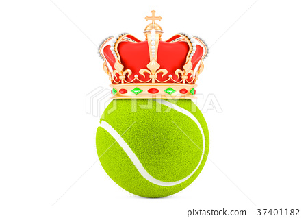 Tennis ball with gold crown, 3D rendering 37401182