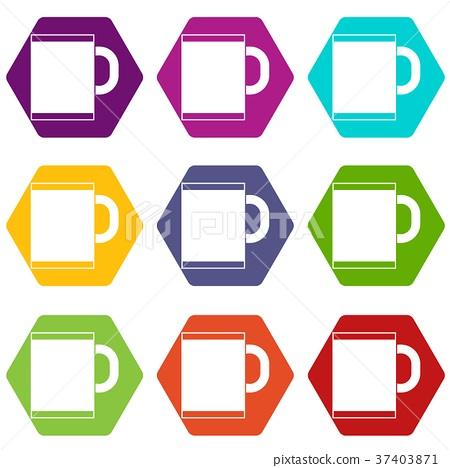 Tea mug icon set color hexahedron 37403871