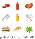 Cutting food icons set, cartoon style 37406505
