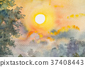 Watercolor landscape painting of sunshine. 37408443
