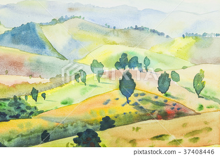 Landscape painting colorful of mountain  37408446