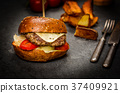 Cheeseburger with beef meat 37409921