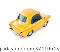 funny yellow cartoon retro car isolated on white 37410645