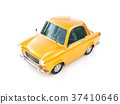 funny yellow cartoon retro car isolated on white 37410646