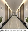 modern luxury wood and tile hotel corridor 37411631