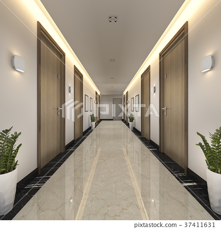 modern luxury wood and tile hotel corridor 37411631