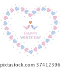 White Day Heart shaped wreath and lovebird 37412396
