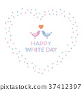 White Day Heart shaped wreath and lovebird 37412397