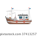 Commercial fishing trawler side view icon 37413257