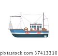 Commercial fishing ship side view icon 37413310