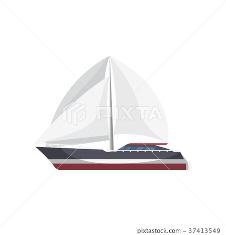 Luxury sailboat side view isolated icon 37413549