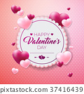 Happy Valentines Day Design with Red Heart on 37416439