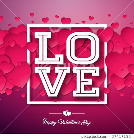Happy Valentines Day Design with Red Heart on 37417159