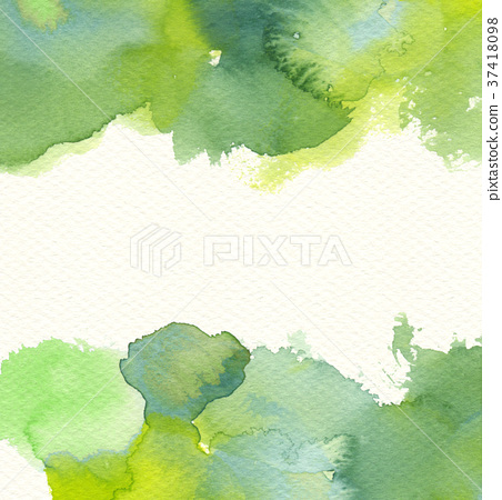 Watercolor pattern (green) Watercolor paper background spread space 37418098
