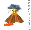 เกี่ยวกับภูเขาไฟ,ปะทุ,เวกเตอร์ 37418228