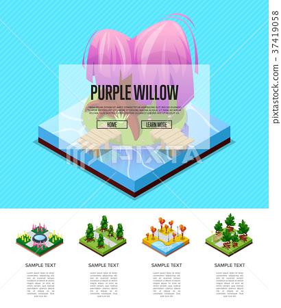 Park landscape design isometric infographics 37419058