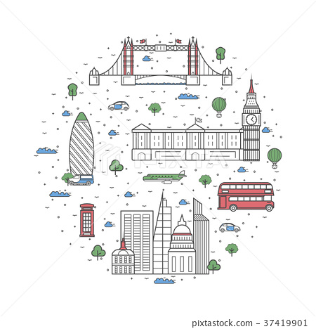 London travel poster in linear style 37419901