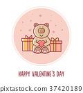 Happy Valentines Day. Teddy bear. Vector 37420189