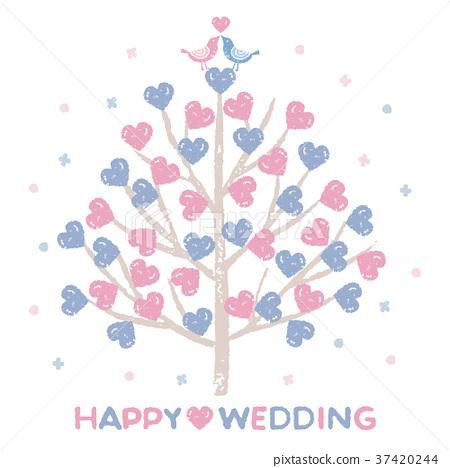 Wedding Heart Tree and Love Bird 37420244