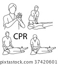 CPR demonstration first aid vector illustration  37420601