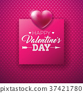 Happy Valentines Day Design with Shiny Heart and 37421780