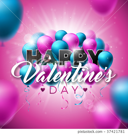 Happy Valentines Day Design with Color Balloon on 37421781