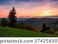 grassy slope rural area at sunset 37425630