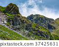 rocky cliffs on grassy slopes with snow in summer 37425631