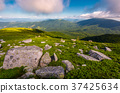 boulders on grassy hill in summer 37425634