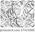 Hand Drawn of Sea Vegetables or Seaweed Background 37425666