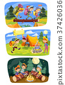 Kids summer camping vector concept illustration 37426036