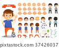 Boy kid playing football and toys vector cartoon 37426037