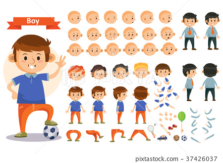 Boy kid playing football and toys vector cartoon 37426037