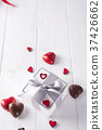 candies hearts and gift box on wooden board, 37426662