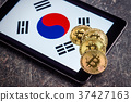 Golden bitcoins and South Korea flag. 37427163