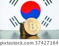 Golden bitcoins and South Korea flag. 37427164